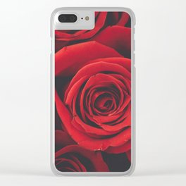 vintage red roses Clear iPhone Case