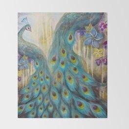 Jeweled Peacock Throw Blanket