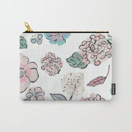 Flower Cutouts in White Carry-All Pouch