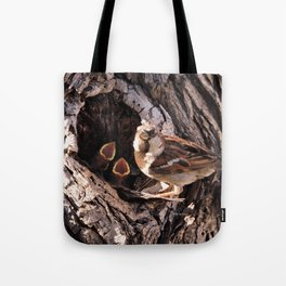 House Sparrow Keeping House Tote Bag
