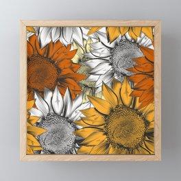 Beautiful pattern from hand drawn sunflowers Framed Mini Art Print
