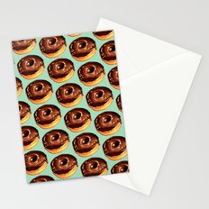 Chocolate Donut Pattern - Teal Stationery Cards