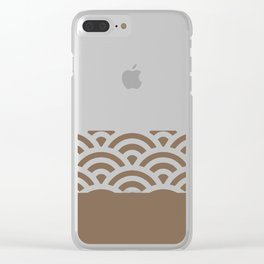 Rainbow Trim Brown Leather - Coffee Clear iPhone Case