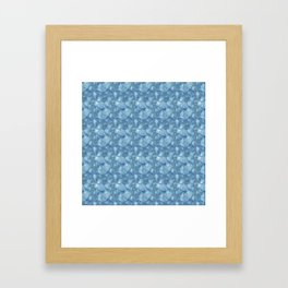 Blue Grey Abstract Floral Lace Pattern Framed Art Print