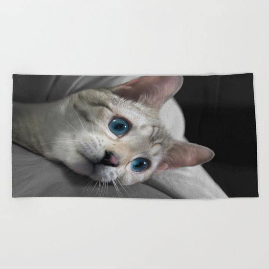 The Blue Ice in the Snow Bengal Cat's Eyes Beach Towel
