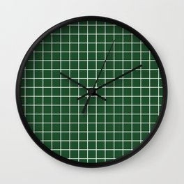 Cal Poly Pomona green - green color - White Lines Grid Pattern Wall Clock