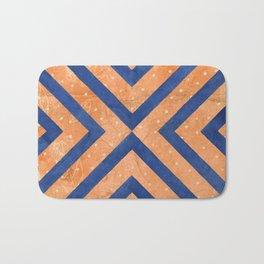 Chambray Blue & Hit Pink Geometry Vector Pattern Bath Mat