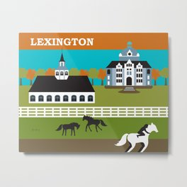 Lexington, Kentucky - Skyline Illustration by Loose Petals Metal Print