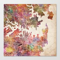 sydney Canvas Prints featuring Sydney by MapMapMaps.Watercolors