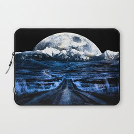 Road to Eternity (blue vintage moon mountain) Laptop Sleeve