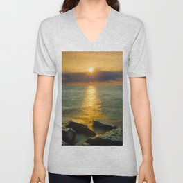 Coastal Landscape Photograph Sun Ray on the Water Beach Art Unisex V-Neck