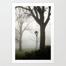 Misty school bell in autumn Art Print