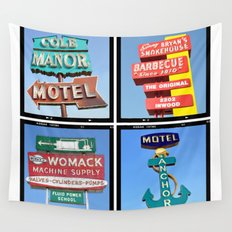 Vintage Signs Composite Series of 4 Wall Tapestry