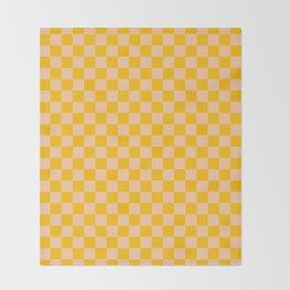 Deep Peach Orange and Amber Orange Checkerboard Decke
