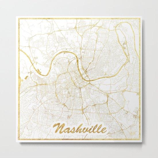 Nashville Map Gold Metal Print