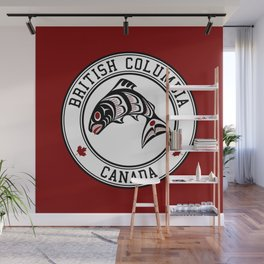 Native American Red Black Graphic Vector Salmon Wall Mural
