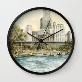 Lincoln Park Lagoon, people paddle boating with the Chicago skyline in the background Wall Clock