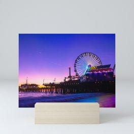 Santa Monica purple sunset Mini Art Print