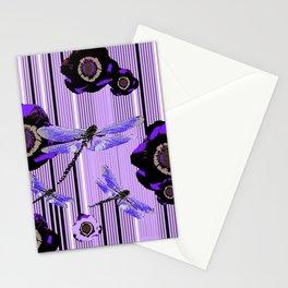 PURPLE DRAGONFLIES & BLACK POPPY FLOWERS ART Stationery Cards