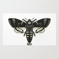 moth Area & Throw Rugs featuring Moth by Nick Rissmeyer