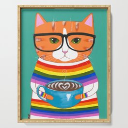 Rainbow Ginger Kitty Coffee Serving Tray