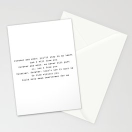 Forever and ever, you'll stay in my heart - Lyrics collection Stationery Cards