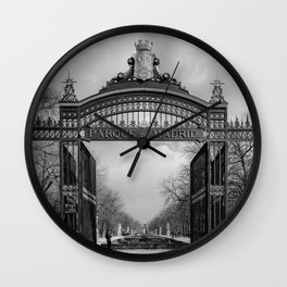 Parque de Madrid entrance BW Wall Clock