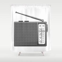 Vintage portable radio in design fashion modern monochrome style illustration Shower Curtain