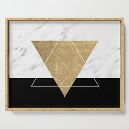 Golden marble deco geometric Serving Tray