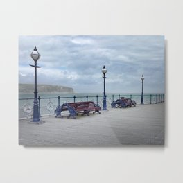 Lamps And Benches On Swanage Pier Metal Print