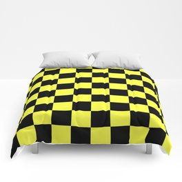 Black and Yellow Checkerboard Pattern Comforters