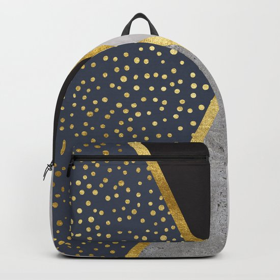 Gold Dots, Concrete, & Watercolor Backpack