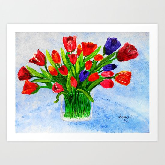 Short stem tulips Art Print