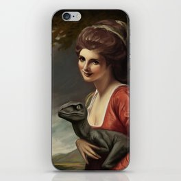 Lady Hamilton with velociraptor  iPhone Skin