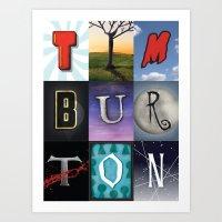 tim burton Art Prints featuring Tim Burton by Fallis Design
