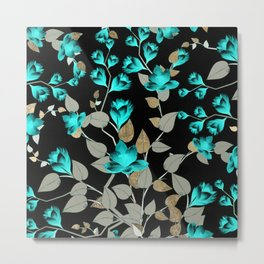 Modern abstract teal black faux gold floral Metal Print