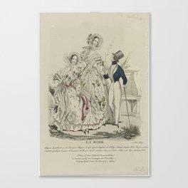 La Mode, 3 août 1839  Chapeau de paille de riz de Lemonnier..., Anonymous, Alfred Xavier du Fougerai Canvas Print