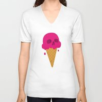 jazzberry V-neck T-shirts featuring Skull Scoop. by Nick Nelson