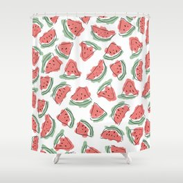 Modern Artsy Watercolor Coral Mint Black Watermelon Shower Curtain