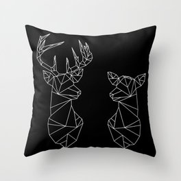 Geometric Stag and Doe (White on Black) Throw Pillow