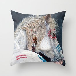 Native American Indian pony Throw Pillow
