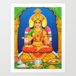 Indian Art Hindu God Lord Annalakshmi Art Print