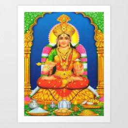 Indian Art Hindu Poster Print God Lord Laksmi Annalakshmi Art Print