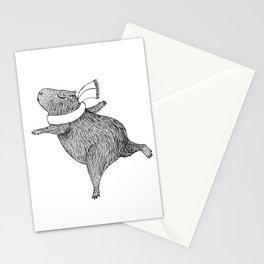 CAPYBARA ENJOYS WINTER Stationery Cards