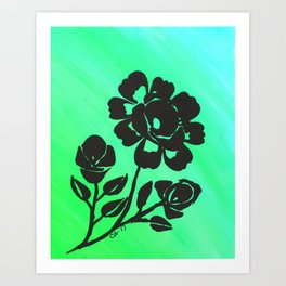 Green Silhouette Roses Varigated Background Acrylic Art Art Print