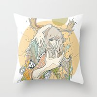 moss Throw Pillows featuring moss by Cassidy Rae Marietta