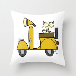 cat on a scooter Throw Pillow
