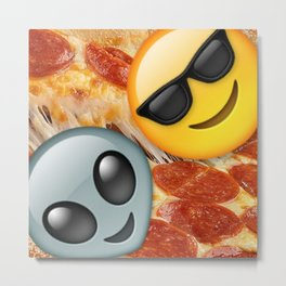 Pizza Lovers Emoji Metal Print