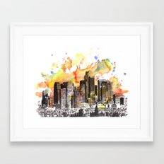 Los Angeles Cityscape Skyline Painting Framed Art Print