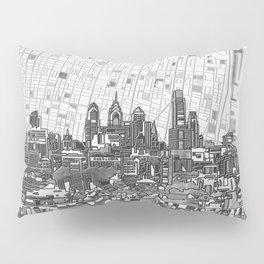 philadelphia city skyline black and white Pillow Sham